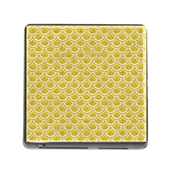 Scales2 White Marble & Yellow Denim Memory Card Reader (square) by trendistuff