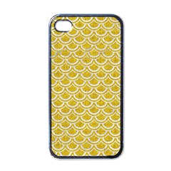 Scales2 White Marble & Yellow Denim Apple Iphone 4 Case (black) by trendistuff