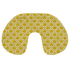 Scales2 White Marble & Yellow Denim Travel Neck Pillows by trendistuff