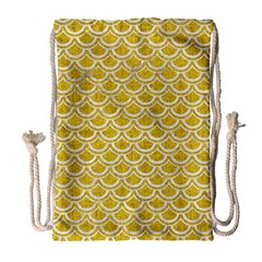 Scales2 White Marble & Yellow Denim Drawstring Bag (large) by trendistuff