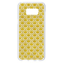Scales2 White Marble & Yellow Denim Samsung Galaxy S8 Plus White Seamless Case by trendistuff