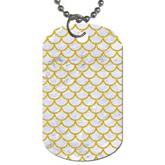 Scales1 White Marble & Yellow Denim (r) Dog Tag (one Side) by trendistuff