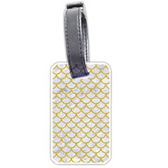 Scales1 White Marble & Yellow Denim (r) Luggage Tags (two Sides) by trendistuff