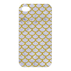 Scales1 White Marble & Yellow Denim (r) Apple Iphone 4/4s Hardshell Case by trendistuff