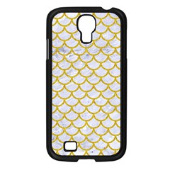 Scales1 White Marble & Yellow Denim (r) Samsung Galaxy S4 I9500/ I9505 Case (black) by trendistuff