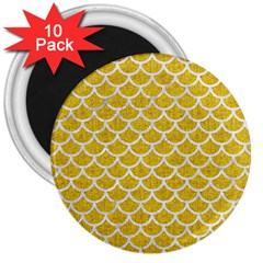 Scales1 White Marble & Yellow Denim 3  Magnets (10 Pack)  by trendistuff