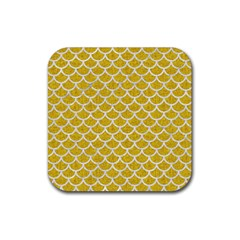 Scales1 White Marble & Yellow Denim Rubber Square Coaster (4 Pack)  by trendistuff