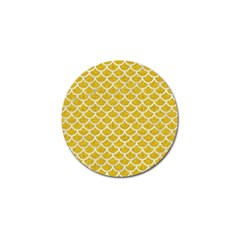 Scales1 White Marble & Yellow Denim Golf Ball Marker (10 Pack) by trendistuff
