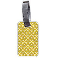 Scales1 White Marble & Yellow Denim Luggage Tags (one Side)  by trendistuff
