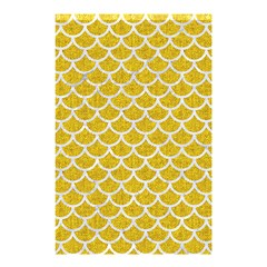 Scales1 White Marble & Yellow Denim Shower Curtain 48  X 72  (small)  by trendistuff