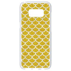 Scales1 White Marble & Yellow Denim Samsung Galaxy S8 White Seamless Case by trendistuff