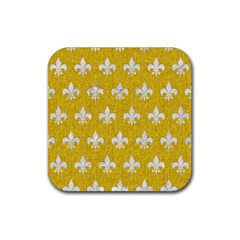 Royal1 White Marble & Yellow Denim (r) Rubber Square Coaster (4 Pack)  by trendistuff