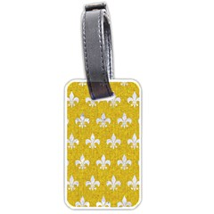 Royal1 White Marble & Yellow Denim (r) Luggage Tags (two Sides) by trendistuff