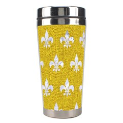Royal1 White Marble & Yellow Denim (r) Stainless Steel Travel Tumblers by trendistuff