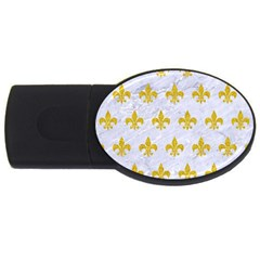 Royal1 White Marble & Yellow Denim Usb Flash Drive Oval (2 Gb) by trendistuff
