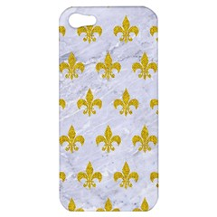 Royal1 White Marble & Yellow Denim Apple Iphone 5 Hardshell Case by trendistuff
