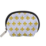 ROYAL1 WHITE MARBLE & YELLOW DENIM Accessory Pouches (Small)  Front