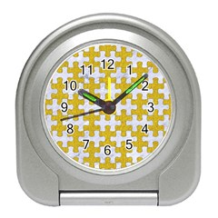 Puzzle1 White Marble & Yellow Denim Travel Alarm Clocks by trendistuff