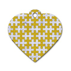 Puzzle1 White Marble & Yellow Denim Dog Tag Heart (one Side) by trendistuff