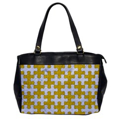 Puzzle1 White Marble & Yellow Denim Office Handbags by trendistuff