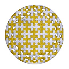 Puzzle1 White Marble & Yellow Denim Ornament (round Filigree) by trendistuff