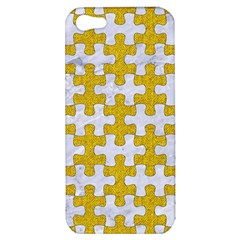Puzzle1 White Marble & Yellow Denim Apple Iphone 5 Hardshell Case by trendistuff