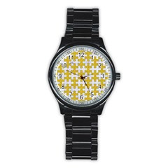 Puzzle1 White Marble & Yellow Denim Stainless Steel Round Watch by trendistuff
