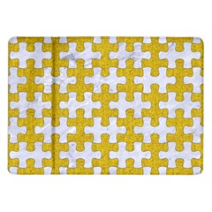 Puzzle1 White Marble & Yellow Denim Samsung Galaxy Tab 10 1  P7500 Flip Case by trendistuff