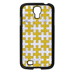 Puzzle1 White Marble & Yellow Denim Samsung Galaxy S4 I9500/ I9505 Case (black) by trendistuff