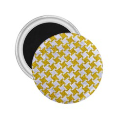 Houndstooth2 White Marble & Yellow Denim 2 25  Magnets by trendistuff