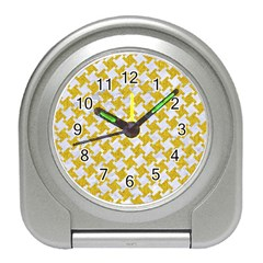 Houndstooth2 White Marble & Yellow Denim Travel Alarm Clocks by trendistuff