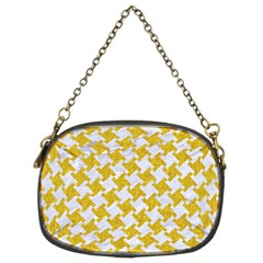 Houndstooth2 White Marble & Yellow Denim Chain Purses (two Sides)  by trendistuff