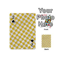 Houndstooth2 White Marble & Yellow Denim Playing Cards 54 (mini)  by trendistuff