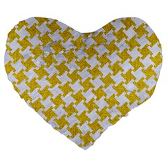 Houndstooth2 White Marble & Yellow Denim Large 19  Premium Heart Shape Cushions by trendistuff