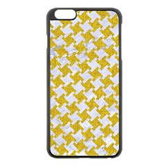 Houndstooth2 White Marble & Yellow Denim Apple Iphone 6 Plus/6s Plus Black Enamel Case by trendistuff