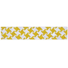 Houndstooth2 White Marble & Yellow Denim Large Flano Scarf  by trendistuff