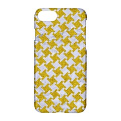 Houndstooth2 White Marble & Yellow Denim Apple Iphone 8 Hardshell Case by trendistuff