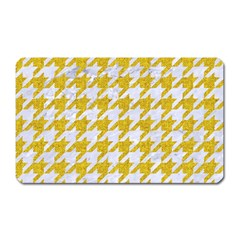 Houndstooth1 White Marble & Yellow Denim Magnet (rectangular) by trendistuff