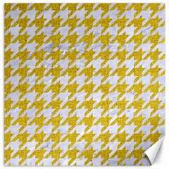 Houndstooth1 White Marble & Yellow Denim Canvas 16  X 16