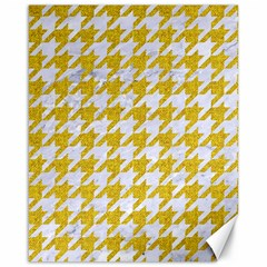 Houndstooth1 White Marble & Yellow Denim Canvas 16  X 20