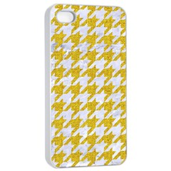 Houndstooth1 White Marble & Yellow Denim Apple Iphone 4/4s Seamless Case (white) by trendistuff