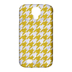 Houndstooth1 White Marble & Yellow Denim Samsung Galaxy S4 Classic Hardshell Case (pc+silicone) by trendistuff