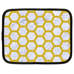Hexagon2 White Marble & Yellow Denim (r) Netbook Case (large) by trendistuff