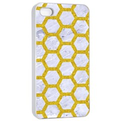 Hexagon2 White Marble & Yellow Denim (r) Apple Iphone 4/4s Seamless Case (white) by trendistuff
