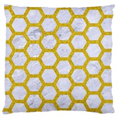 Hexagon2 White Marble & Yellow Denim (r) Large Cushion Case (two Sides) by trendistuff