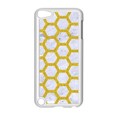 Hexagon2 White Marble & Yellow Denim (r) Apple Ipod Touch 5 Case (white) by trendistuff