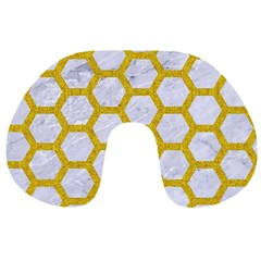 Hexagon2 White Marble & Yellow Denim (r) Travel Neck Pillows