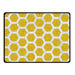 Hexagon2 White Marble & Yellow Denim Double Sided Fleece Blanket (small)  by trendistuff
