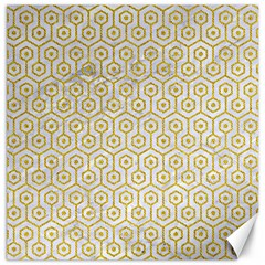 Hexagon1 White Marble & Yellow Denim (r) Canvas 12  X 12   by trendistuff