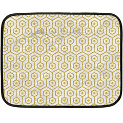Hexagon1 White Marble & Yellow Denim (r) Fleece Blanket (mini) by trendistuff